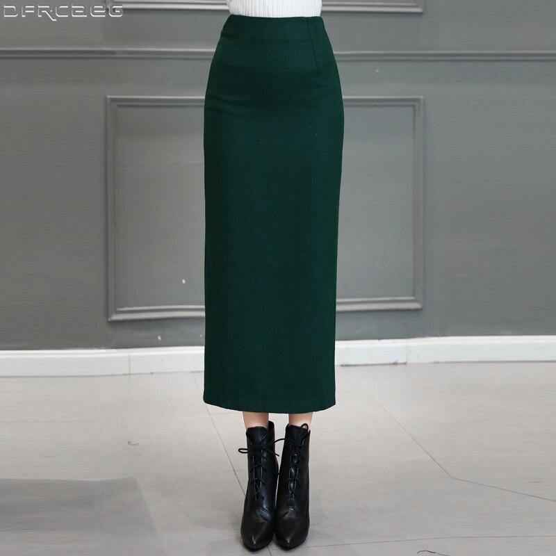 Vintage Long Skirts For Women 2019 Winter Thicken Wool Skirt Retro Split Saias Bodycon Office Jupe Femme Red Black Green Skirt