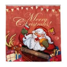 Рождественская занавеска для душа с красным оленем Санта Клаус