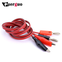 4MM Dual Alligator Clip to Banana Connector Oscilloscope Test Probe Cable 1M 3FT Red/Black 100cm Dual-ended Power Testing Line