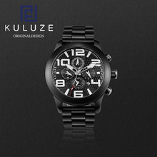 KULUZE Titanium Watch Black PVD coated diving watch Famous Men Pilots Black Sport Number Glow in the Barkwatch Scanseconds Watch