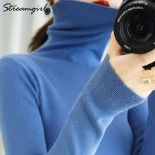 Женский свитер водолазка 2020 зимняя одежда вязаный топ черные