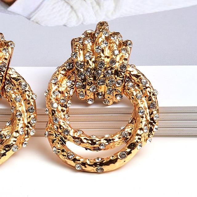 Irregular Metal Gold Rhinestone Dangle Drop Crystal Earrings 5