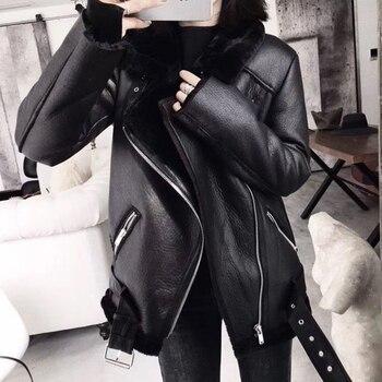 Ailegogo manteau d'hiver femme, fourrure épaisse Faux cuir de mouton, fourrure veste en cuir, veste d'aviateur, Casaco Feminino, 2020 1