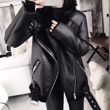 Ailegogo 2020 Winter Coats Women Thick Faux Leather Fur Sheepskin Coat Female Fur Leather Jacket Aviator Jacket Casaco Feminino