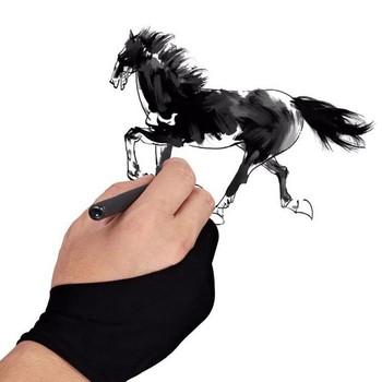 Black 2 finger anti-zanieczyszczenia zarówno dla prawej jak i lewej ręki rysunek artystyczny rękawiczki dla każdego tablet graficzny do rysowania czarny S M L rozmiar tanie i dobre opinie free size Other opp bag