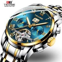 Montre トップブランド自動腕時計メンズ高級機械式時計コンプリートカレンダーステンレス鋼防水時計 TEVISE オム