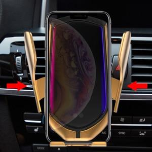 Image 5 - Bundwin carregador sem fio para carro, suporte de telefone com braçadeira automática para huawei mate 20 pro, samsung s9, note9, note8, qi montagem de carga rápida
