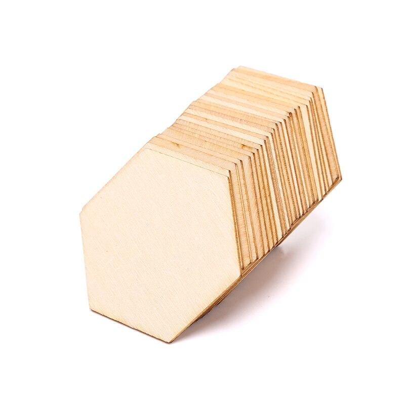 100/50/25 шт. буковая деревянная шестиугольная искусственная деревянная форма искусственные украшения «сделай сам»