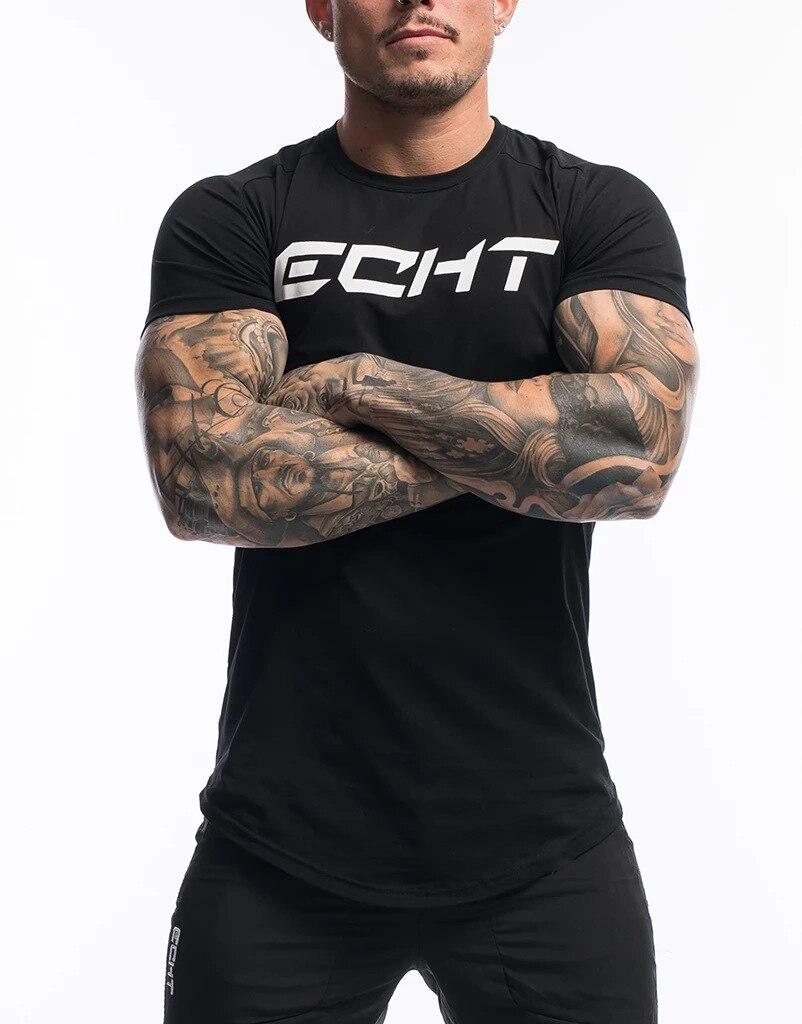 Men Tshirt Summer Curved Hem T-shirt Bodybuilding Big Letter Printed Men Fitness Workout Casual Shot Sleeve Shirt