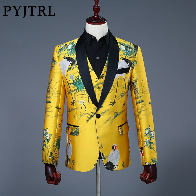 PYJTRL Mens Classic Shawl Lapel Two Pieces Set Blazer And Vest Jacquard Print Slim Fit Gold Jacket Wedding Stage Singers Costume