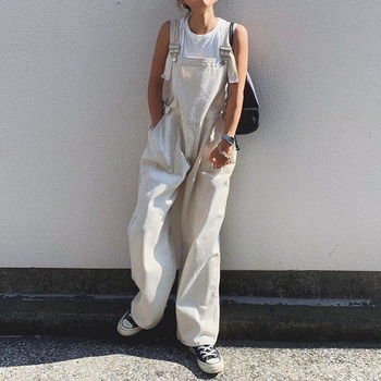 2020 Fall Japanese Pure White Jumpsuit Overalls Lazy Wind High Waist Oversize Loose Wide Legs Trousers Jumpsuit Autumn Trendy plus size plain loose wide legs jumpsuit