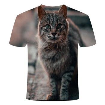 Camiseta veraniega con estampado 3D de animales para hombre y mujer, novedad de 2020, camiseta con diseño de estilo Harajuku con Gato divertido y gatito tridimensional