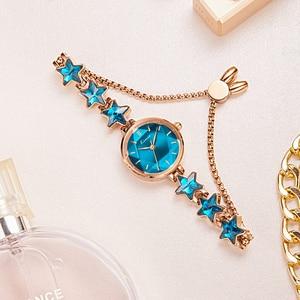Image 2 - Kimio นาฬิกาข้อมือสุภาพสตรี Blue Star สร้อยข้อมือนาฬิกาผู้หญิงสายเล็กๆนาฬิกายี่ห้อผู้หญิงกันน้ำนาฬิกาข้อมือ 2019 ใหม่