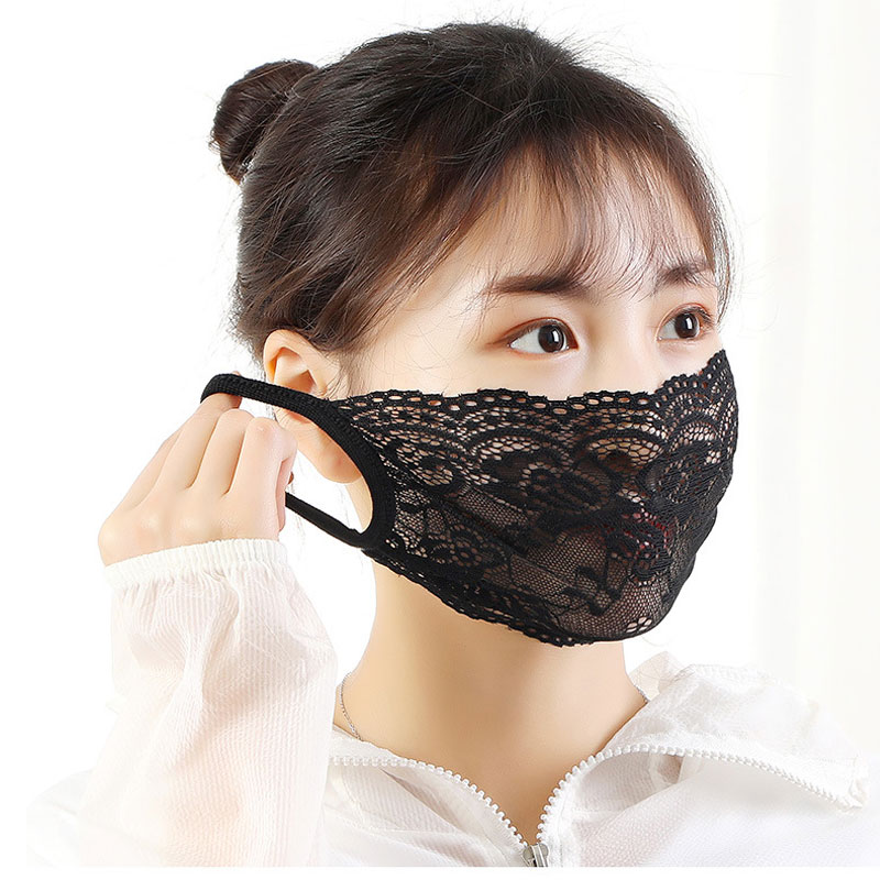 3PCS Women Sweet Flower Embroidered Lace Face Masks Ladies Summer Thin Sunscreen Dust Proof High Quality Face Masks New Arrival