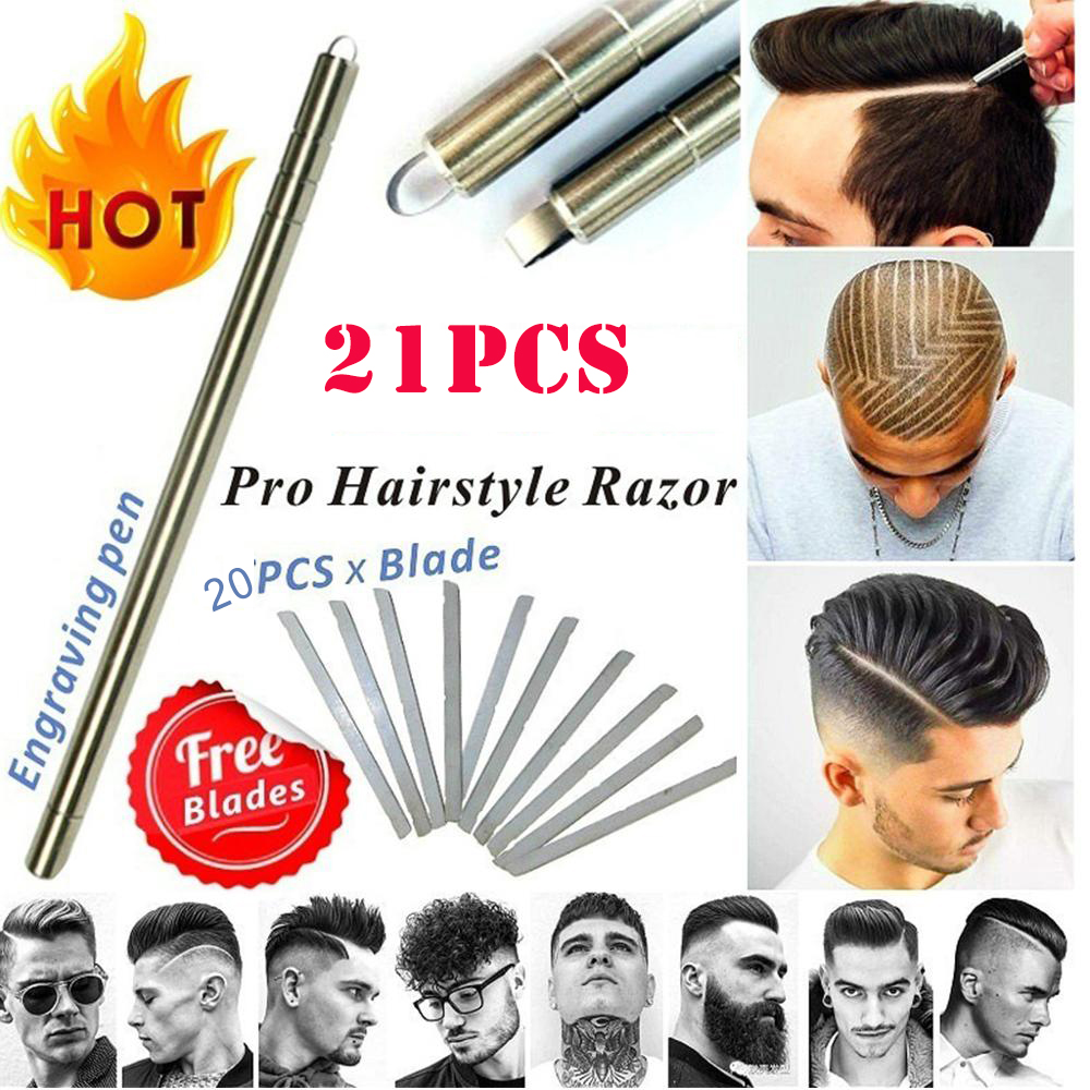 1pen+ 4/20pcs Hair Tattoo Trim Styling Engraving Pen Face Eyebrow Shaping Scissors Device Multifunctional Beards Razor Tools