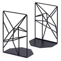 Bookends Black Decorative Metal Book Ends Supports for Shelves Unique Geometric Design for Shelves Kitchen Cookbooks Decorative      -
