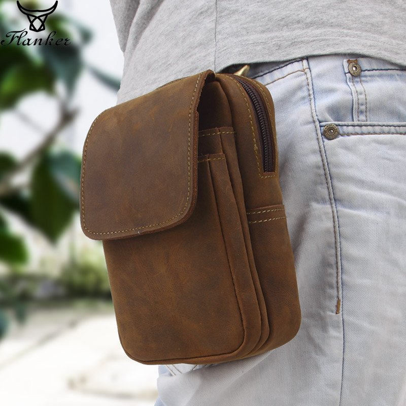 Flanker Crazy Horse Leather Men Waist Pack Vintage Small Waist Bag Hook Hip Bag Belt Bag Travel Fanny Pack With Cell Phone Pouch