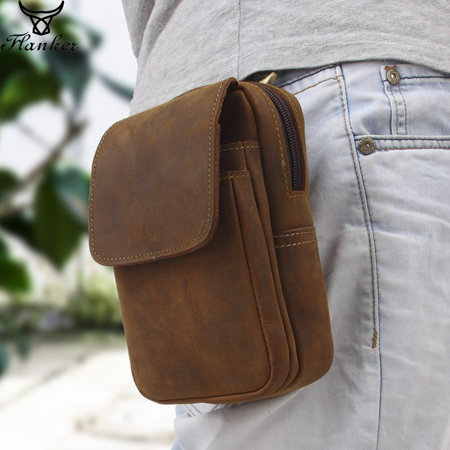 Flanker crazy horse leather men waist pack vintage small waist bag hook hip bag belt bag travel fanny pack with cell phone pouch