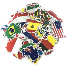 National Flag Stickers Country Map Scrapbook Sticker Set Travel for DIY Decoration 50pcs / set