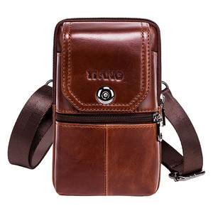 Image 4 - New Leather Mini Messenger Bags for Men Retro Business Office Small Shoulder Bag Casual Wallet Mini Travel Phone Pouch #40