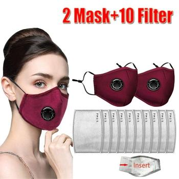 Reusable Face Mask PM2.5 Activated Carbon Filter for Breathing Insert Protective Anti Pollution Washable Cotton Masks for Adults