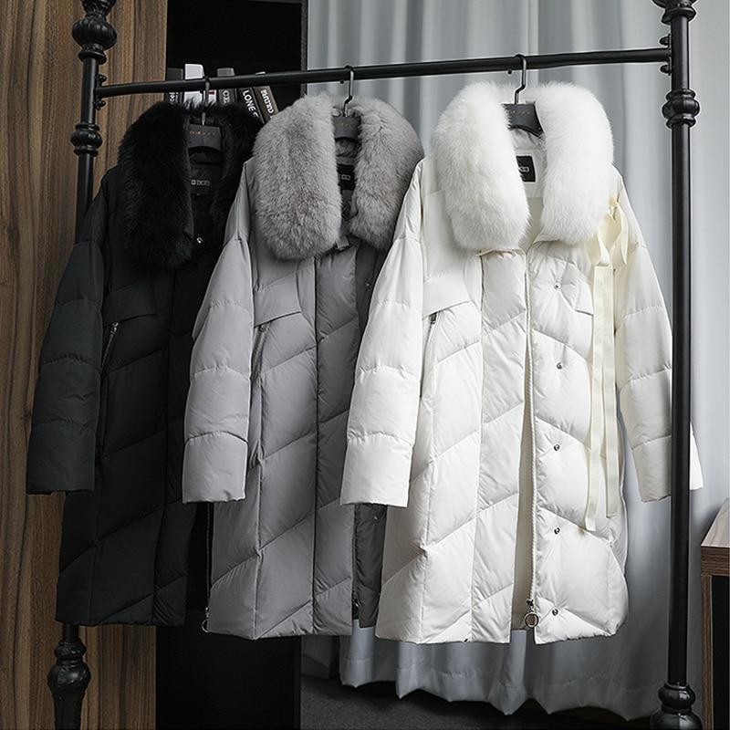 Image 5 - FTLZZ Large Real Natural Fox Fur Collar White Duck Down Coat  Winter Jacket Women Down Long Parkas Female Thick Snow OuterwearDown  Coats