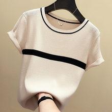 Shintimes maglietta a maglia sottile abbigliamento donna 2020 estate donna manica corta T-Shirt top T-Shirt Casual a righe maglietta femminile Femme