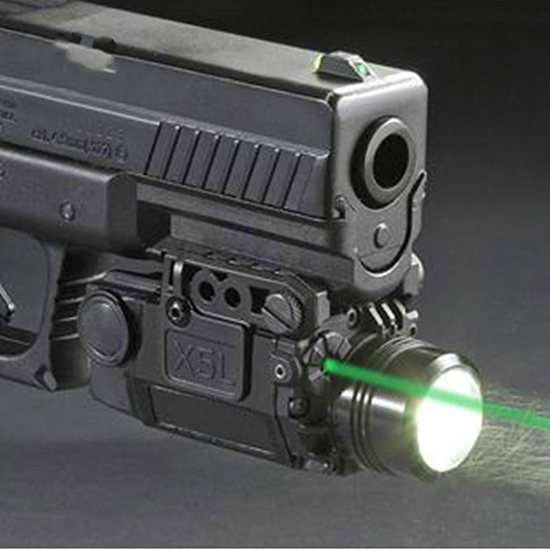Tactical X5L LED Flashlight Combo Green Laser Sight Universal Pistol Gun Mira Laser Pistola For Airsoft Glock 17 19