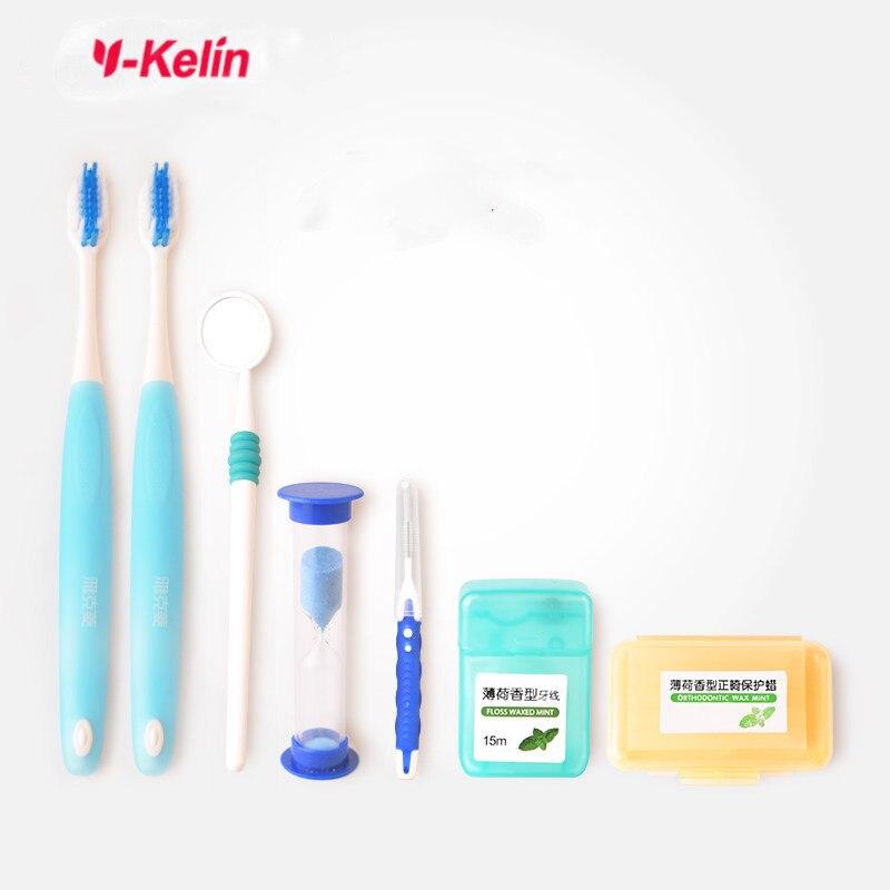 Y-Kelin Orthodontic Care Kit Orthdontic Teeth Whitening Toothbrush Interdental Brush Dental Floss Mouth Mirror
