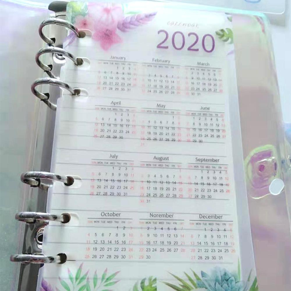 1Pc 2020 Calendar Cute School 6 Holes PP Index Divider  A5 A6 For Girl Diary Binder Weekly Planner Notebooks Stationery