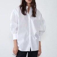 2021 neue Mode Weiß und Schwarz Bluse Stilvolle Frauen Lange Hemd Herbst Moderne Dame Lose Langarm Shirts