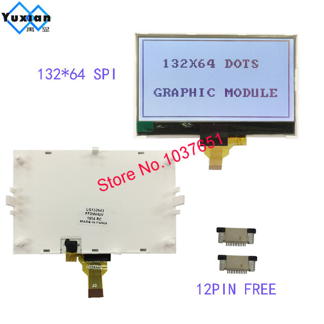 132*64 COG lcd display grafik modul SPI Serielle 12pin FSTN grau ST7567 mit helle hintergrundbeleuchtung serielle modul LG132643 FDW