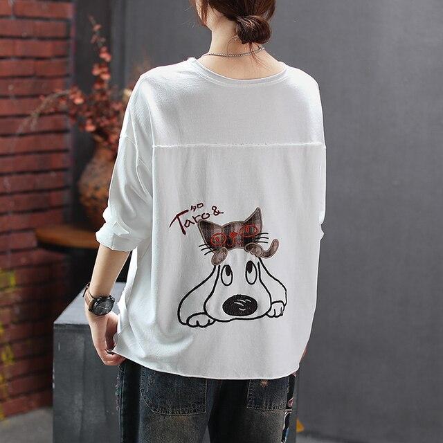 Женская Весенняя мода, китайский стиль, мультяшная собака, вышивка, пэчворк, круглый вырез, длинный рукав, футболка, женская, повседневная, свободная, футболки  My Pet World Store