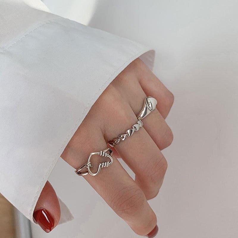 XIYANIKE 925 argent Sterling rétro amour coeur creux anneau ouvert femme INS tendance doux Sexy élégant fait à la main Hip-hop mode anneau 6