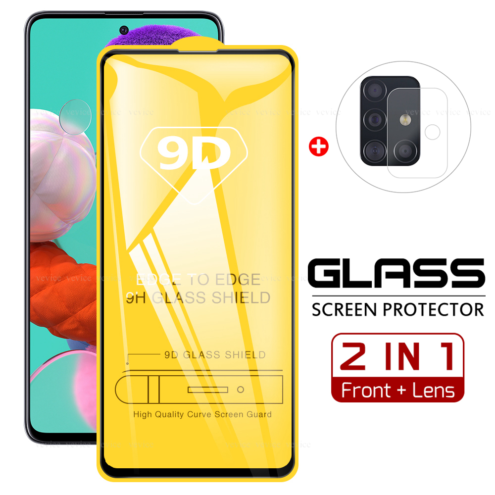 2 In 1 9D Glass For <font><b>Samsung</b></font> Galaxy A51 A71 SM-515F 715F Camera Lens Film & <font><b>Screen</b></font> Protector Tempered Glass <font><b>Protective</b></font> Cover image