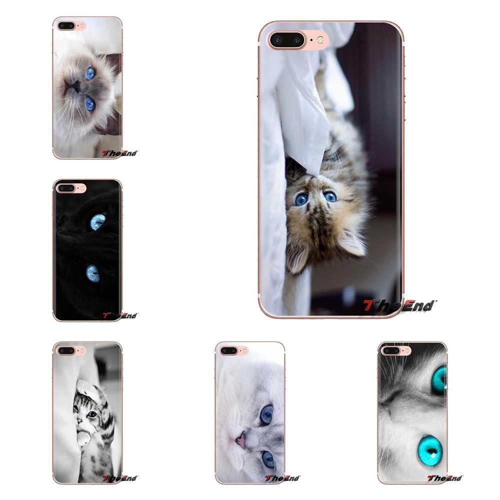 For Samsung Galaxy S3 S4 S5 Mini S6 S7 Edge S8 S9 S10 Plus Note 3 4 5 8 9 Blue Eyes Cat Hd Wallpaper Transparent Soft Shell Case Aliexpress