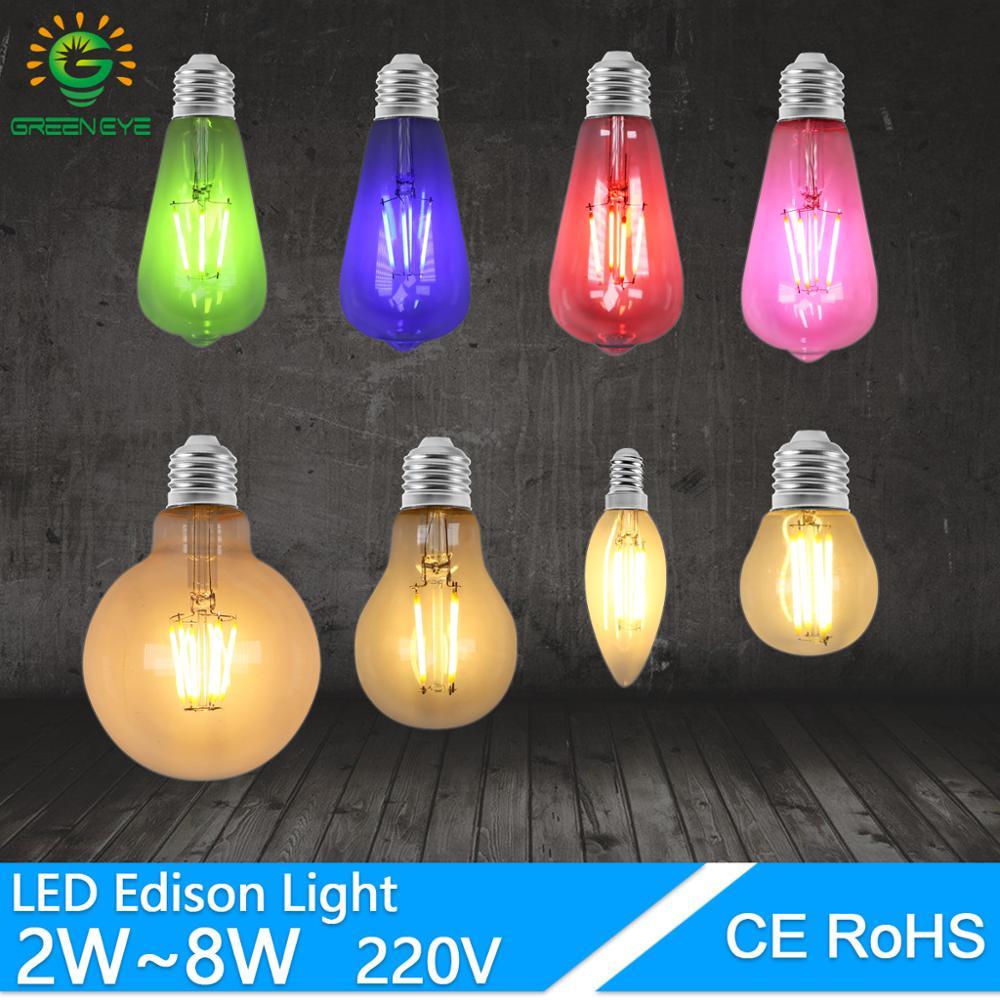 Retro Edison Light led Bulb E27 E14 220V 4W 6W ST64 G80 G95 T45 A60 color Filament Incandescent Ampoule Bulb Vintage Edison Lamp