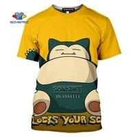 SONSPEE Cartoon Pokemon Snorlax T-shirt 3D Print Men Women Tshirt Casual Summer Short Sleeve Fashion Oversized Shirts Streetwear 3