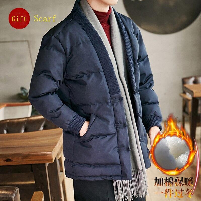 Style chinois hommes vestes Parkas d'hiver hommes solide décontracté épais chaud doux Kimono Streetwear mode Parka