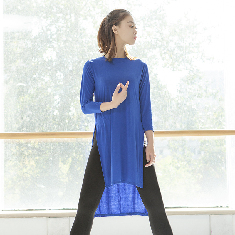 Long Shirt For Women Baggy Gym Yoga Clothes Dance Costume Loose Basic Training Blouse Body Training Suit Modal Split Long Shirt