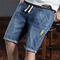 2021 summer classic style men's lightweight straight denim shorts elastic waist drawstring youth fashion thin ripped jeans