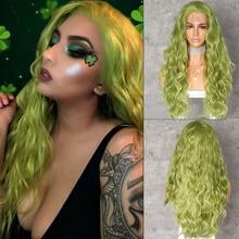 Lvcheryl mão amarrada nova cor verde cabelo onda de água perucas de cabelo resistente ao calor perucas de cabelo sintético frente do laço perucas