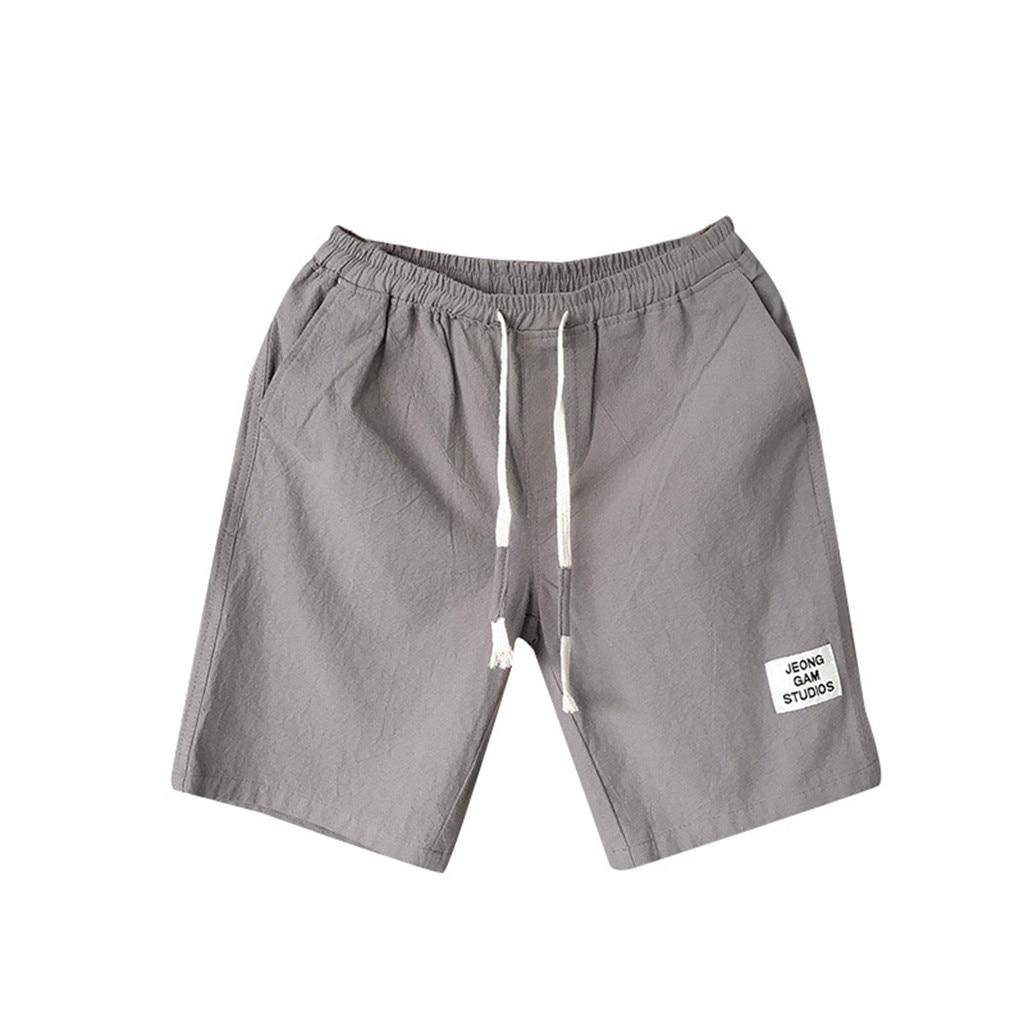 Summer Shorts Belt Linen Drawstring Large-Size Flax D90823 Loose Leisure Men