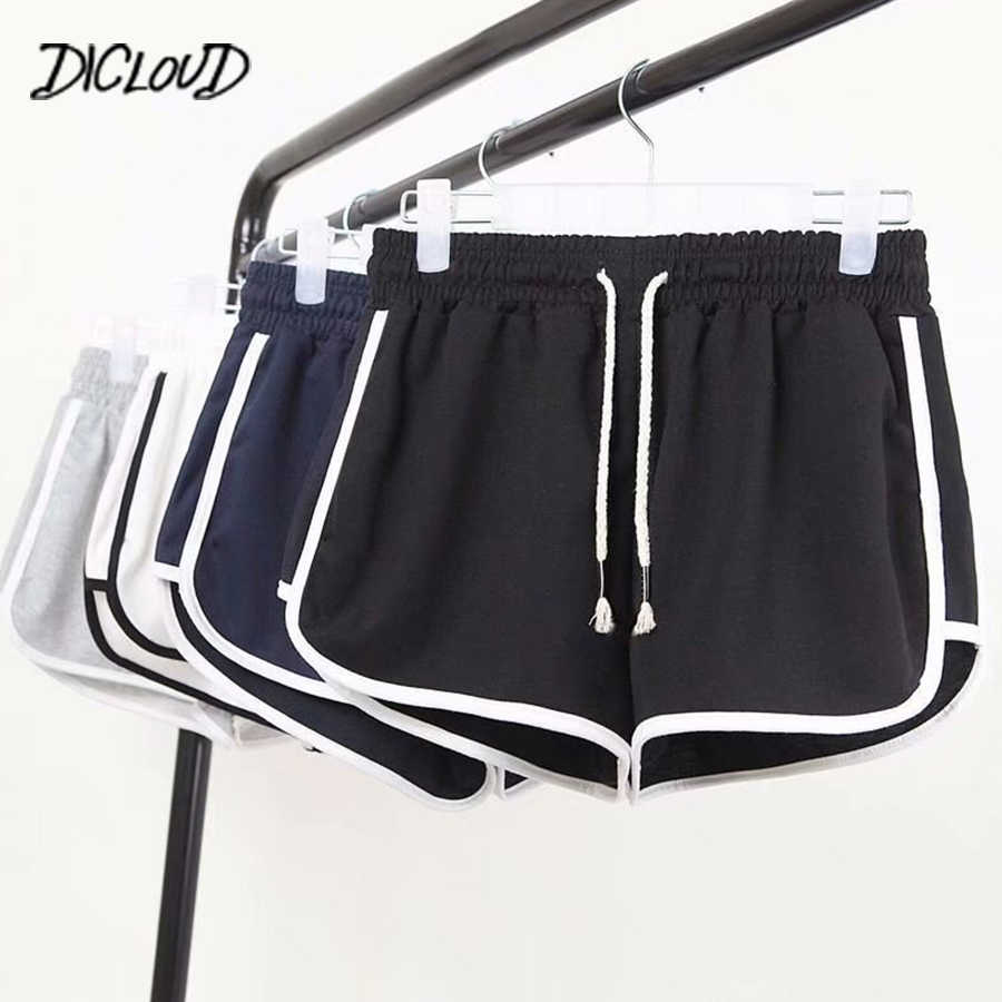 DICLOUD Mode Sommer Casual Shorts Frau 2019 Stretch Hohe Taille Booty Shorts Weibliche Schwarz Weiß Lose Strand Sexy Kurze S-XXL