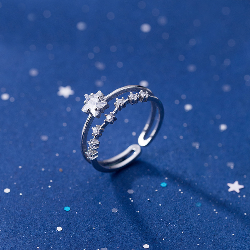 MloveAcc 100% 925 Sterling Silver Rings Women Ring CZ Stars Fine Jewelry For Girls Teens Wish Birthday