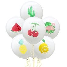 10pcs 12 Inches Party Fruit Latex Balloons Pineapple Cherry Watermelon Flamingo Balloon Birthday Wedding Hawaiian Decorations