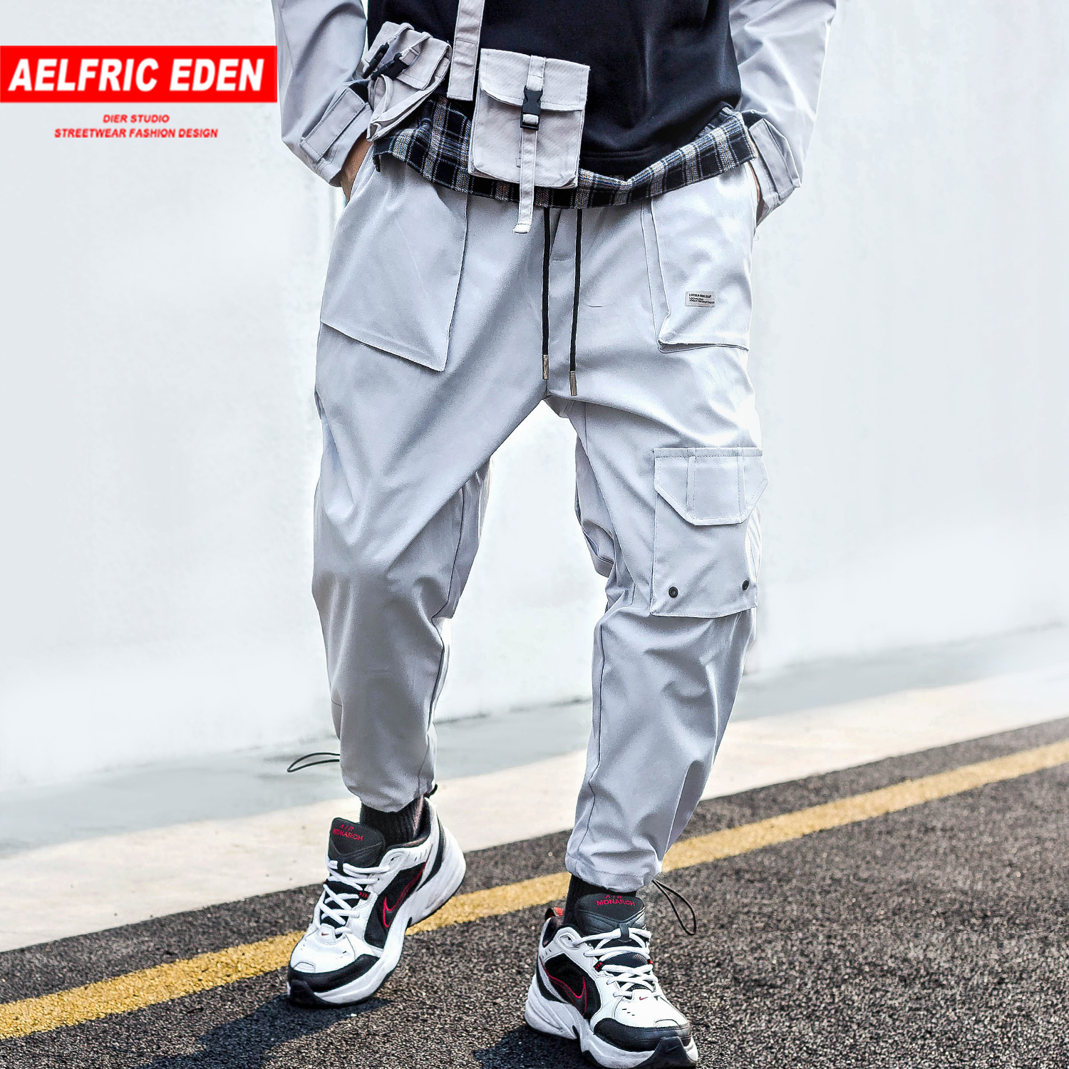 Aelfric Eden Hip Hop Multi Pockets Mens Harem Cargo Pants Harajuku Casual 2019 Streetwear Sweatpants Joggers Male Track Trousers