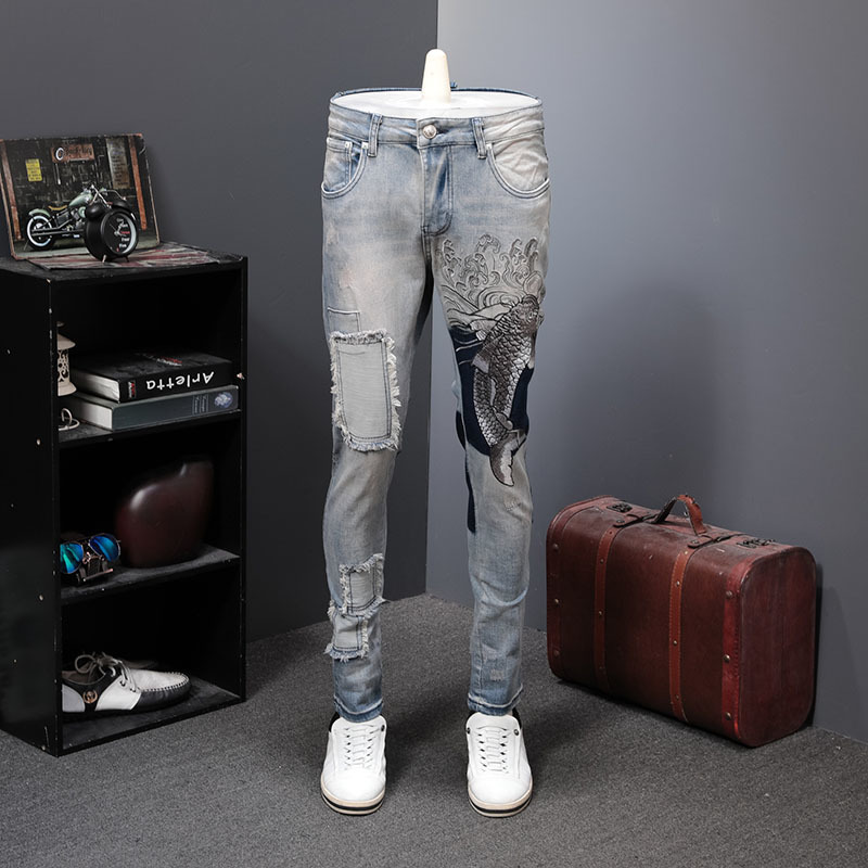 Denim Jeans Men Embroidery Fish Jeans Male Patch Patch Directly Canister Self-cultivation Pants Personality Elastic Jeans Hombre
