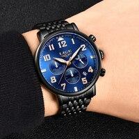 LIGE 2020 nowe męskie zegarki Top marka luksusowy biznes zegarek kwarcowy mężczyźni sport pełna stal wodoodporny niebieski zegar Relogio Masculino