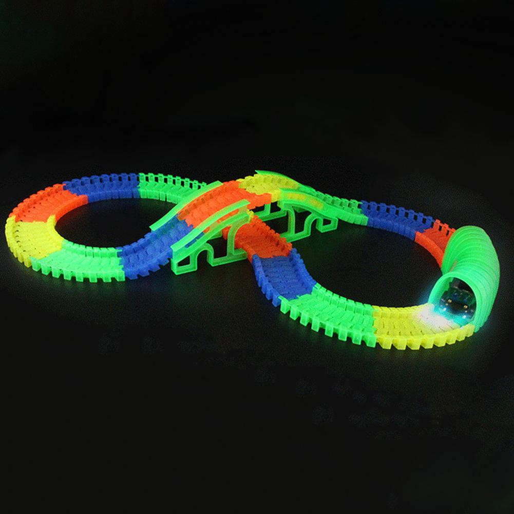 Kuulee Baby Fluorescent Assembly Racing Track Car Accessories Puzzle Building Blocks Toys as Gifts